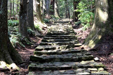 Ancient steps of Kumano Kodo, the sacred historical pilgrimage route in Kansai, Japan