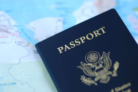 United States Passport on a paper map Stock Photo - 13238072