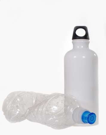 Plastic water bottle and aluminum water bottle photo