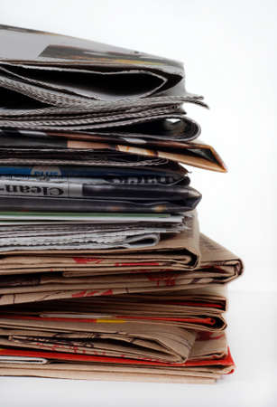 commercial recycling: Stack of newspapers and bags Stock Photo