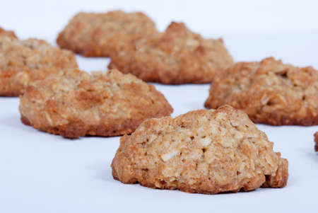 oatmeal cookie: Close up of homemade oatmeal cookies.  Isolated on white