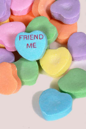 Valentine candy hearts with words Friend Me