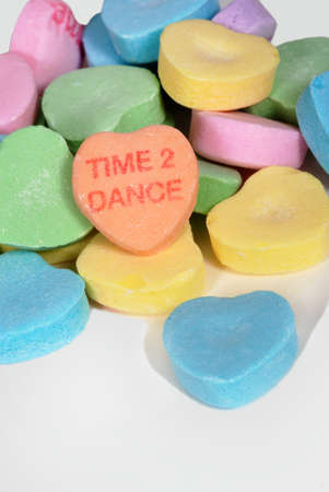 Valentine candy hearts with the words Time 2 Dance