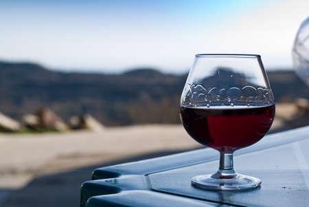 navarra: A glass of navarra patxaran (sloe-flavoured liqueur) at the degustation