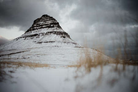 Kirkjufell, Iceland in the middle of winter with a lot of snow