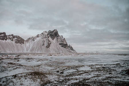The snow covered landscape of Stokksnes, Iceland