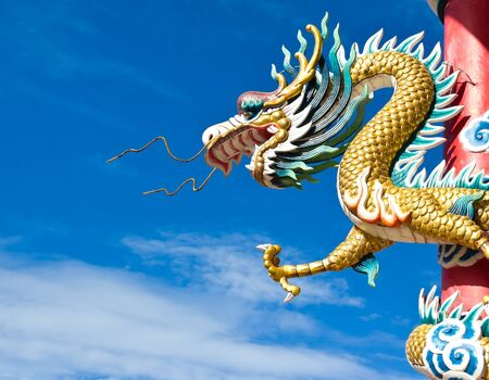 Dragon Statue in Thailand in Blue Sky