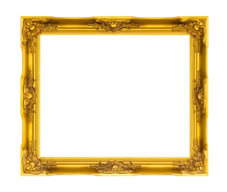 Wooden picture frame on white  isolated  photo