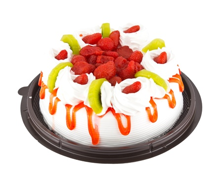 Strawberry cake on white background