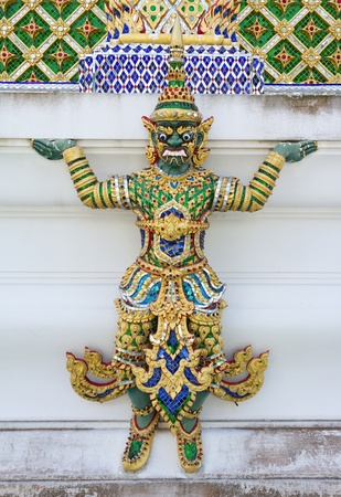 Green giant statue in thailand temple Stock Photo