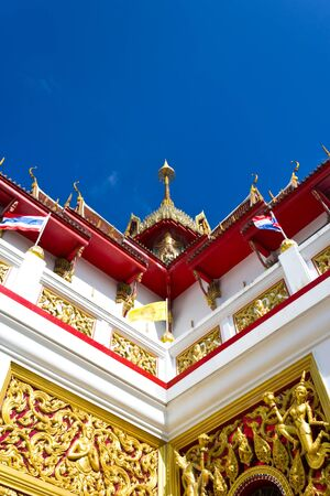 Corner of thailand church with blue sky Stock Photo