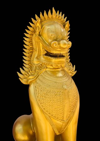 golden lion statue in thailand temple