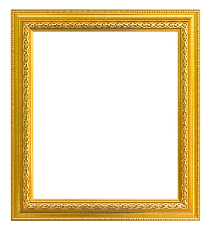 Golden Frame on white isolated photo