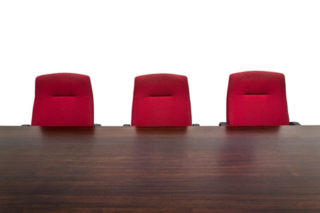 Red chair in meeting room Stock Photo