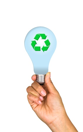 A light bulb with the recycle symbol