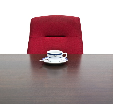 Red chair in meeting room photo