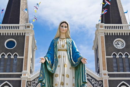 Virgin mary statue at Chantaburi province, Thailand.  photo