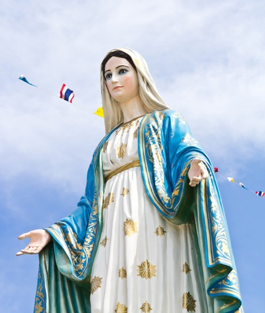 Virgin mary statue at Chantaburi province, Thailand.  Stock Photo