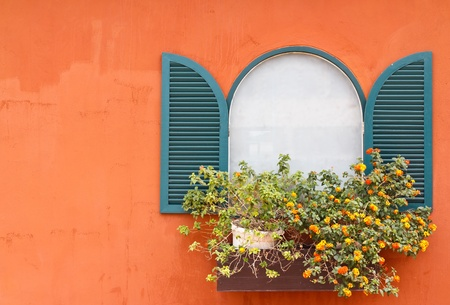 Window and flowerpot Stock Photo