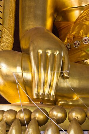 Hand of big buddha statue in Thailand temple