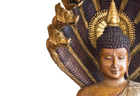 Wooden buddha statue in thailand temple on white background