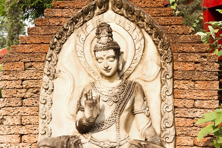 Buddha sculptures use for decorate in thailand temple Stock Photo