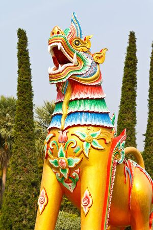 golden lion statue in thailand temple  Stock Photo