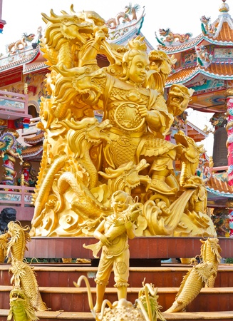 Golden Chinese Style Statue in Thailand s Temple Stock Photo