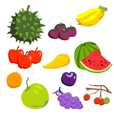 various fruits cartoon vector