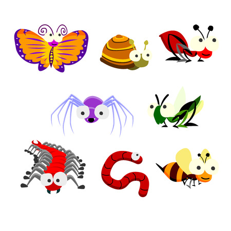 various insects cartoon vector Illustration