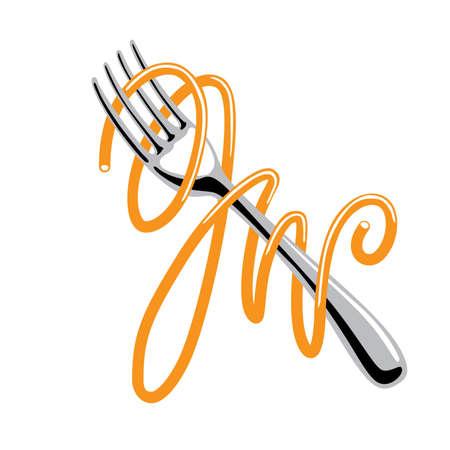 spaghetti: Spaghetti en volks Stock Illustratie