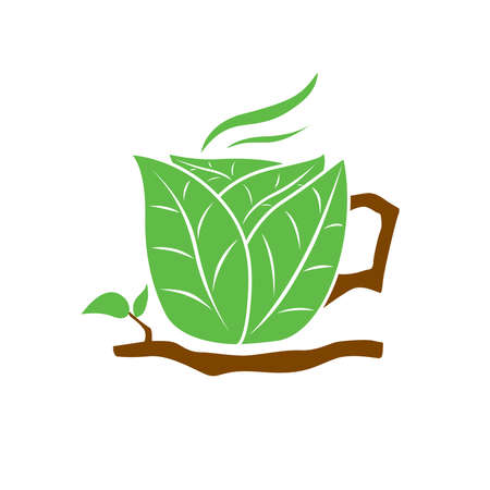 brown cup tea: Organic Tea Cup Illustration