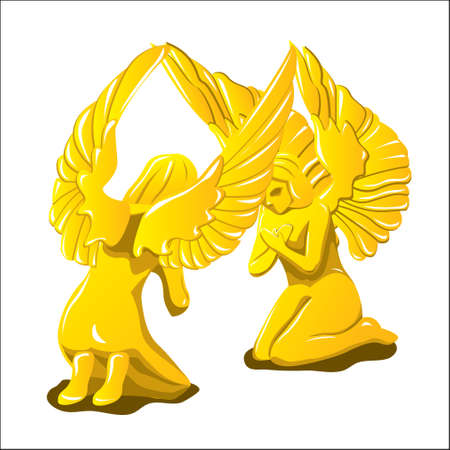 Two Angels Pray Vector