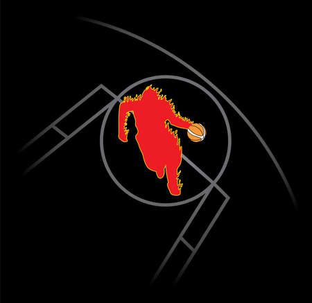 hands fire passion: Fire Basketball Man Illustration