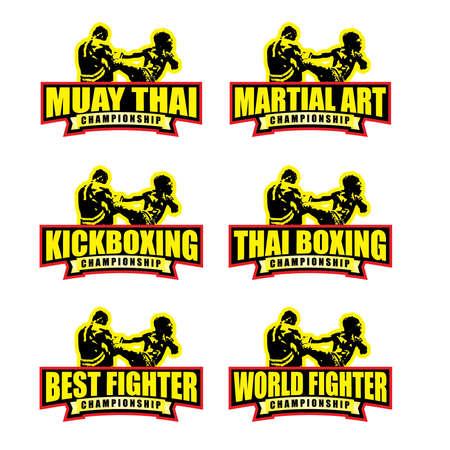 Muay Thai Boxing Martial Art World Fighter Best Kickboxing Championship Illustration