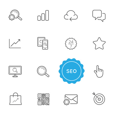 seo: Set of Seo Search Engine Optimization Vector Illustration Elements can be used as Logo or Icon in premium quality