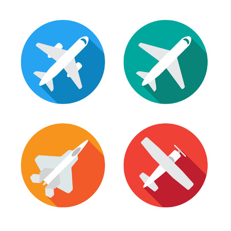 aircraft aeroplane: Aircraft or Airplane Flat Minimal Icons Set Collection Vector Silhouette Illustration