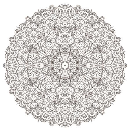 meditation isolated white: Ethnic Fractal Mandala Meditation looks like Snowflake or Maya Aztec Pattern or Flower Isolated on White