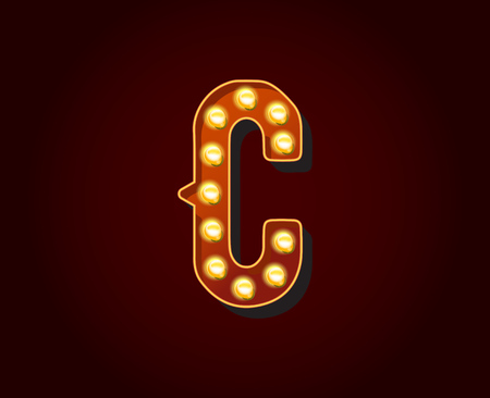 show case: Casino or Broadway Signs style light bulb Alphabet C Letter Character