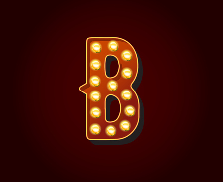 show case: Casino or Broadway Signs style light bulb Alphabet B Letter Character Illustration