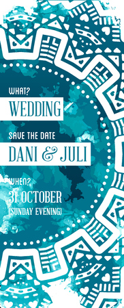 backdrop: Illustration Invitation to Wedding Card in Watercolor Art Style on Backdrop
