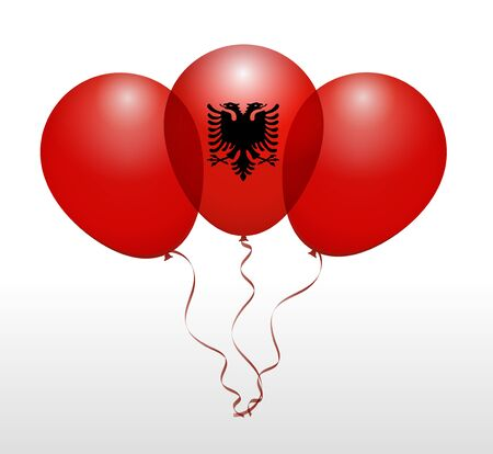 albania: Balloons as Albania National Flag Illustration