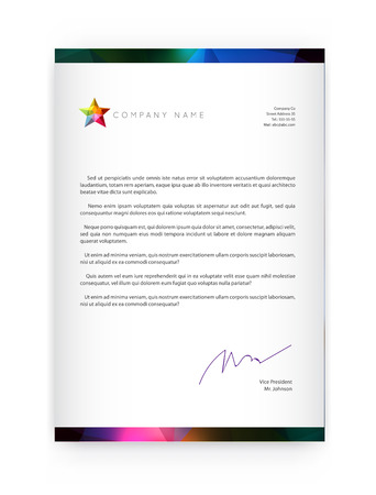 Visual identity with letter elements style Letterhead and geometric blur gradient mesh design style brochure cover template mock ups for business with Fictitious name