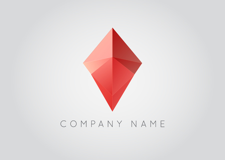 Trendy Crystal Triangulated Gem Logo Element Perfect for Business Geometric Low Polygon Style Visual Identity