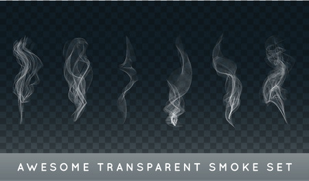 Collection or Set of Realistic Cigarette Smoke or Fog or Haze with Transparency Isolated