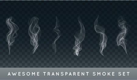 Collection ou un ensemble de réaliste la fumée de cigarette ou de brouillard ou de la brume avec Transparency isolé