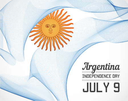 National Day of Argentina Country in Blending Lines Style with Date