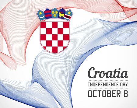 blending: National Day of Croatia Country in Blending Lines Style with Date