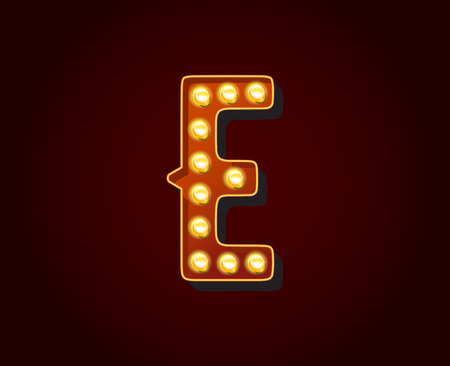 Casino or Broadway Signs style light bulb Alphabet E Letter Character Illustration