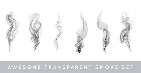 haze: Collection or Set of Realistic Cigarette Smoke or Fog or Haze with Transparency Isolated